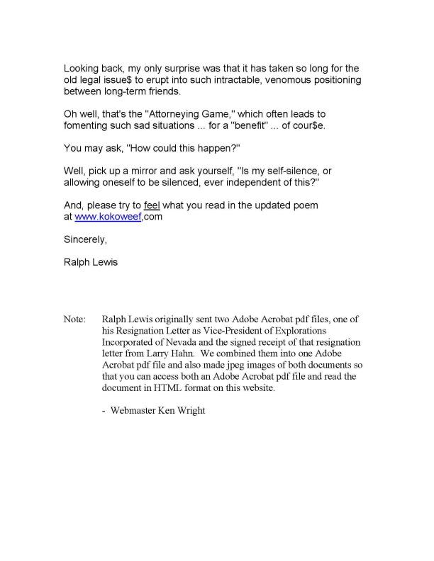 Ralph E. Lewis EIN VP Resignation Letter